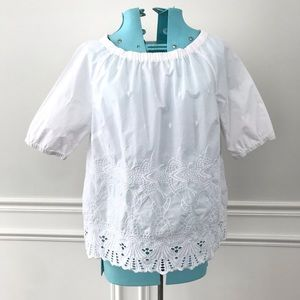 Talbots White eyelet embroidered blouse wide neck